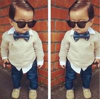 Retail 2015 new handsome boys clothing set child bow tie twinset long-sleeve denim set boys shirt+jeans 2 pcs suit autumn wear