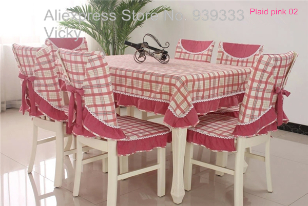 Vintage plaid table cloths and chair covers, stocked plaid cotton dining tablecloth and chair cover set,(China (Mainland))