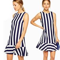 Spring & Summer 2015 Backless V-back O-neck Sleeveless Striped Ruffle Mini Dress for Women Clothing Vestido Plus Size XS-XL XXL