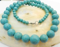 """Hot free deliver goods wholesale new Charming!Beautiful 6-14mm Blue Turkey Turquoise Jaspers Round Beads Necklace 18"""""""