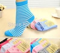 Female short socks women's cotton thin knee-high bow stripe sports socks autumn and winter female socks