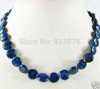 Hot free deliver goods wholesale new Charming!Beautiful 12 mm Lapis Lazuli Jasper Circle Beads necklace18CM wj403
