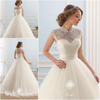 High Quality! Vestido de Noiva Ball Gown High Neck Wedding Dress 2015 Custom Corset Vestidos de Noiva Casamento Free Shipping