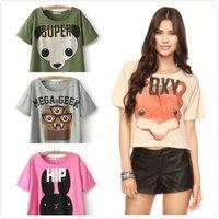 Ladies Cute Crop Tops Animal printed Tee Short sleeve Tops Women Causal Tshirt Novelty tops ladies tops Hot Sale 2015 Plus size
