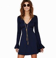 2015 New Arrival Spring Summer Dress Blue Sexy Slim V-neck Long Sleeve Dress Night Party Women's Dresses