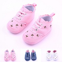 Free Shipping #1483 Fashion Candy Flower Baby Shoes Cowboy Cloth Embroidered Baby Shoes