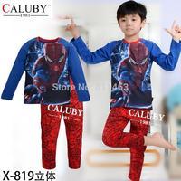 2015 boys long sleeve spiderman clothes set / baby sleepwear / kids clothing setx-X-819