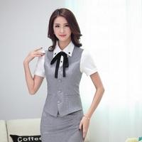 Summer Formal Ladies Gray Vest Women Waistcoat Slim Elegant Work Wear Clothes Fashion Office Uniform Styles