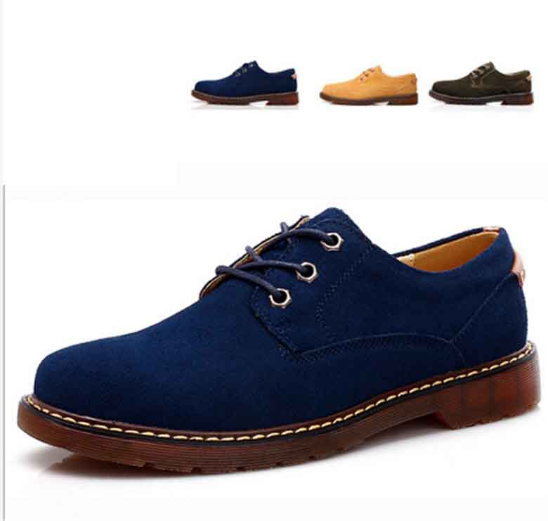 2015 Spring Men Sneakers Suede Genuine Leather Oxfords Shoes Lace-up Casual shoes men's Slip On Shoes Moccasins Men Size 38-44(China (Mainland))