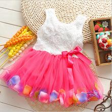 Free shipping 2015 summer girls dress girls rose petal hem dress color cute princess dress girls