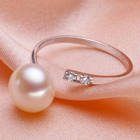 Fashion Adjustable Rings Classic 925 Sterling Silver Rings Women's Rings Jewelry Natural Pearl Rings Summer Party Pearl Jewelry