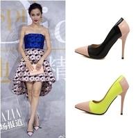 2015 women pumps women high heels ol pointed toe thin heels pumps pumps fashion sexy patchwork high heel shoes C2653
