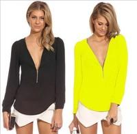 2015 Women Sexy Chiffon Blouse Slim Fit Casual Ladies long sleeve Zipper Shirts Tops Size S M L XL blusas femininas body renda