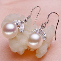 2015 Cherry Design Natural Pearl Drop Earrings Fashion Girl's Jewelry Semiround 9-10mm Genuine Pearl Dangle Earrings Women Gifts