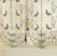Butterfly flower embroidery balloon curtain yarn roman rod pocket process balloon anode-screening window screening