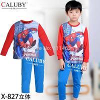 2015 boys long sleeve spiderman clothes set / baby sleepwear / kids clothing set  X-827