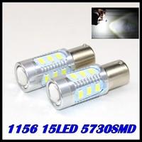2pcs/lot Super Bright White High Power ba15s LED 5730-SMD 1156 15LED Bulbs For Brake, DRL, Turn Signal, Backup Lights Lamps