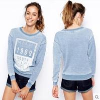 Free Shipping 2015 Women Hoody Spring Autumn Printed Vintage Hoodies Sleeve Casual Sweatshirt Pullovers Sudaderas C2631