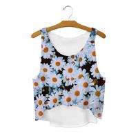 2015 New Fashion Women Crop top Hot Little Daisy Tropical Floral Print Tanks sexy outwear beach women's tanks Free Shipping