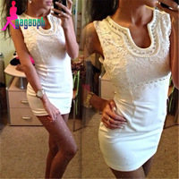 Gagaopt one-piece dress sexy V-neck pearls high quality lace jacquard cute girl dress diamonds knitting sleeveless party dress