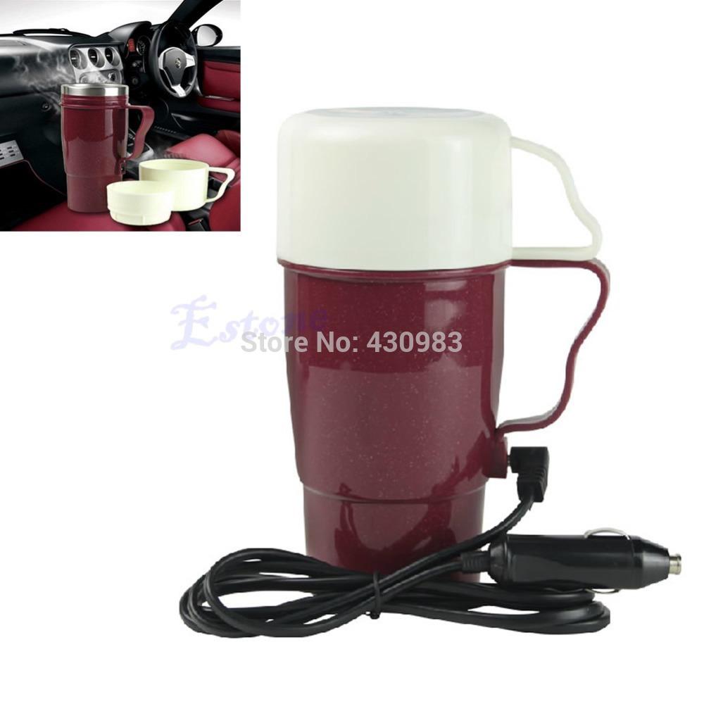 1 pc carro portátil 12 V de aço inoxidável chaleira ferver copo caneca aquecedor de água quente quente 100 Celsius(China (Mainland))