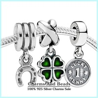 Authentic 925 sterling silver lucky clover coin charm sets fashion jewelry sets for women famous brand diy bracelets NS108