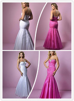Artistic Sweetheart Floor length Mermaid Tulle With Lace Appliques and Beaded Neckline Fuchsia White Evening Dress Prom Gown