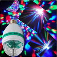 RGB 3W E27 Crystal Auto Rotating LED Bulb Full Color Mini Stage DJ Lamp Light
