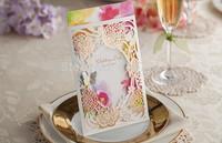 50pcs/lot Customized Invitation Cards 2015 Popular Flower Design Wedding Personality Card  Free Design+Envelope Size 125*185