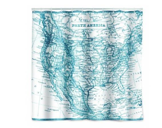 """Mundo tecido mapa Moden bom personalizado cortina de chuveiro do banheiro à prova d ' água eco 60 """" x 72 """" grátis frete(China (Mainland))"""