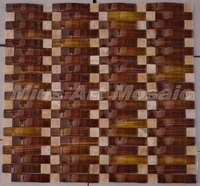 [Mius Art Mosaic] Brown wave crystal glass mosaic tile  kitchen backsplash  tilie D2013