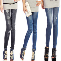 New Spring 2015 slim women Denim jeans wild skinny Casual Elastic Mid Waist Pencil Pants Female  Sexy Leggings Free shipping