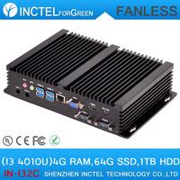Fanless Mini Industrial HTPC Computer with Intel i3 4010u processor 2 COM 4 USB3.0 with 4G RAM 64G SSD 1TB HDD