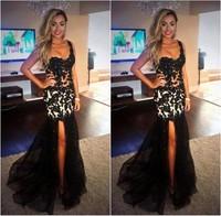 Sexy Mermaid Prom Dresses 2015 Vestidos de Festa Longo One Shoulder Black Dress Long Slit Sheer Lace Sexy Party Pageant Gowns