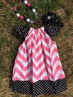 black polka dot hot pink chevron pillow dress girl dress peasant dress with headband and necklace