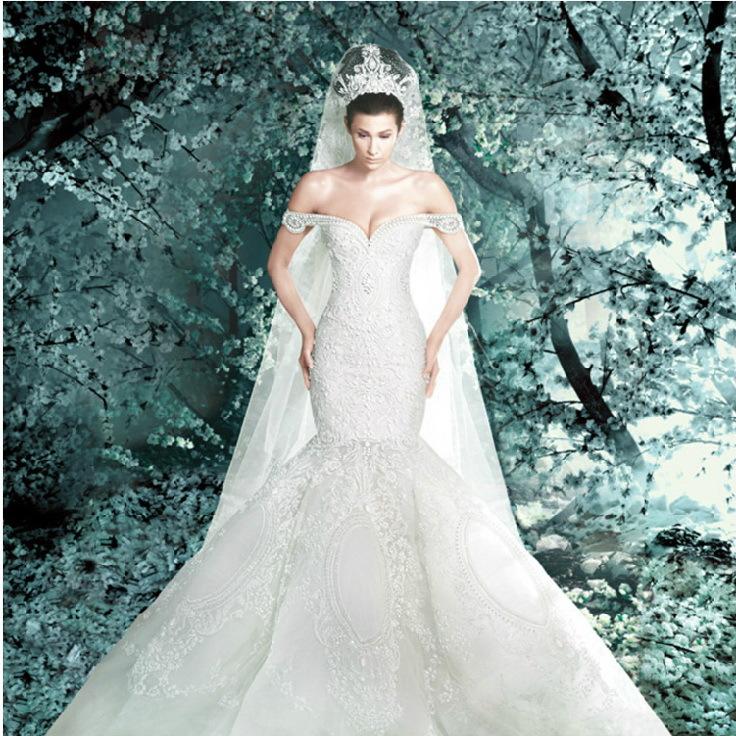 Alto frisado sereia Super luxo Real Photo Wedding Dress Vestido nupcial Vestido De Novia QQ0103(China (Mainland))