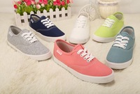 6 Candy Colors Lace Up Canvas Shoes female Vulcanized shoes Casual White shoes Sudents Flat shoes 35-39 green red