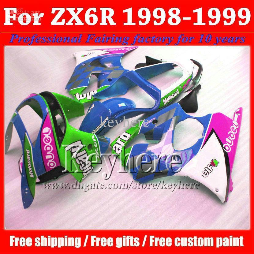 Free shipping Kawasaki ZX9R fairing 98 99 Ninja 1998 1999 high quality beautiful blue fairings bodykitss with 7 gifts jk22(China (Mainland))