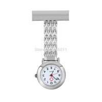 5Pcs Doctor Nurse Pocket Watch  Stainless Steel Arabic Numerals Quartz Brooch Hot Free Shipping