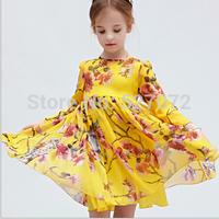 High end!!2015 spring European brand designer girls dress with flowers.kids casual dresses.children clothes.