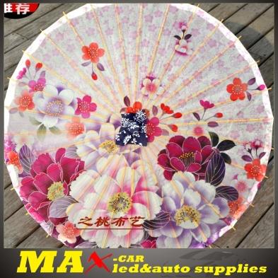 2015 Mew Oiled Paper Umbrella Sakura Chinese Traditional Craft Umbrella for women Stage Performance Sunshade Free Shipping(China (Mainland))