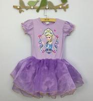Retail,2015 New summer casual girls princess tutu dress with short sleeves cotton cartoon elsa dresses children baby wear