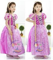 New 2015 Baby Girl Dress Purple Girl's sofia princess Dress Kids tutu Dress Party Girls Clothing Retail Free Shipping