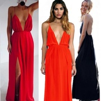 2015 Sexy Women Chiffon Long Dress Luxury Deep V-Neck Spaghetti Strap Split Halter Summer Dresses New Fashion Elegant Slim Dress