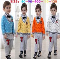 2015 spring Children's clothing set 100%cotton casual boy sets children's set Bear kids suit long sleeve shirts+trousers