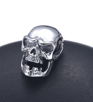2015 Skull head 925 sterling silver men pendant necklace vintage thai silver jewerly chain
