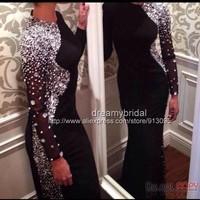 Charming Abendkleider Long Prom Dresses 2015 Long Sleeve Black Sheath Long Evening Dress Robe de Soiree Vestido Festa Noite
