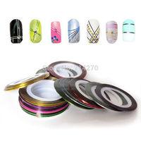 Popular 20 Color Metallic Yarn Line Rolls Striping Tape Nail manicure Art Beauty Decoration Sticker