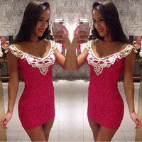 vestido de festa 2015 women dress vestidos Hot new sexy pink lace dress package hip party dresses vestido casual dress