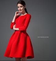 Aliexpress New 2015 Spring Tutu Bride Europe Plus Size Women Red Black Autumn Temperament High-end Dress S-XXL